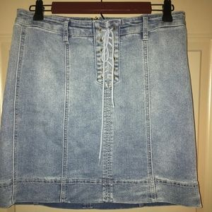 Tie up high wasted jean skirt